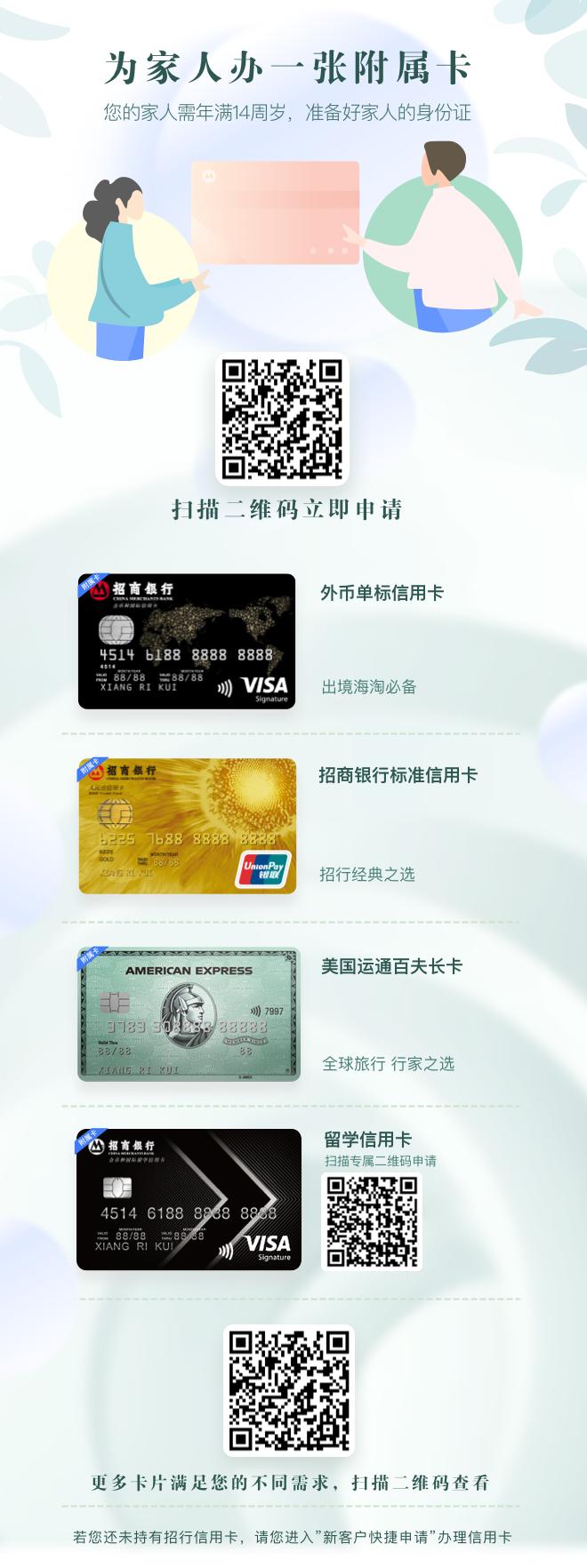 招商银行信用卡附属卡介绍