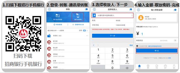 招商银行手机银行通讯录转账流程